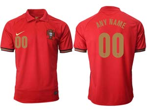 Mens Soccer Portugal National Team Custom Made Red Home 2020 European Cup Thailand Short Sleeve Jersey