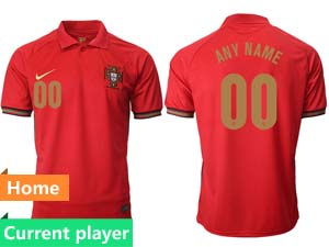 Mens Soccer Portugal National Team Current Player Red Home 2020 European Cup Thailand Short Sleeve Jersey