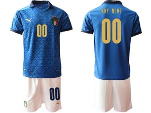 Mens Soccer Italy National Team Custom Made Blue 2021 European Cup Home Short Sleeve Suit Jersey