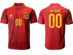 Mens Soccer Spain National Team Custom Made Red Eurocup 2021 Home Thailand Short Sleeve Jersey