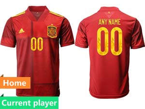 Mens Soccer Spain National Team Current Player Red Eurocup 2021 Home Thailand Short Sleeve Jersey