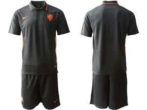 Mens Soccer Holland Ntaional Team Custom Made Black 2020 European Cup Away Short Sleeve Suit Jersey