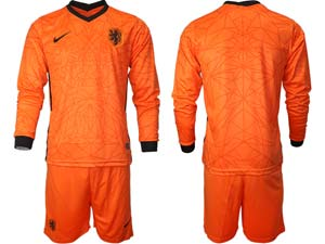 Mens Soccer Holland Ntaional Team Custom Made Orange 2020 European Cup Home Long Sleeve Suit Jersey