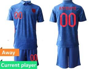 Mens Soccer England National Team Current Player Blue 2021 European Cup Away Short Sleeve Jersey