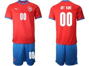 Mens Soccer Nation Czech Republic Custom Made Red 2021 European Cup Home Short Sleeve Jersey