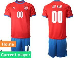 Mens Soccer Nation Czech Republic Current Player Red 2021 European Cup Home Short Sleeve Jersey