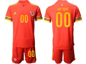 Mens Soccer Nation Wales Custom Made Red 2021 European Cup Home Short Sleeve Jersey
