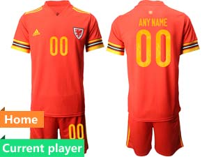 Mens Soccer Nation Wales Current Player Red 2021 European Cup Home Short Sleeve Jersey