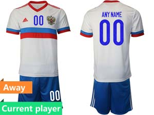 Mens Soccer Russia National Team Current Player White Away 2021 European Cup Short Sleeve Suit Jersey