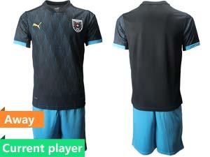 Mens Soccer Nation Austria Current Player Black 2021 European Cup Away Short Sleeve Suit Jersey