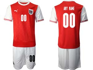 Mens Soccer Nation Austria Custom Made Red 2020 European Cup Home Short Sleeve Suit Jersey