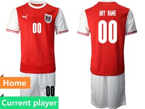 Mens Soccer Nation Austria Current Player Red 2020 European Cup Home Short Sleeve Suit Jersey