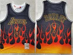 Mens Nba Los Angeles Lakers #8 Kobe Bryant Black Flames Mitchell&ness Hardwood Classics Swingman Jersey