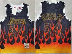 Mens Nba Los Angeles Lakers #24 Kobe Bryant Black Flames Mitchell&ness Hardwood Classics Swingman Jersey
