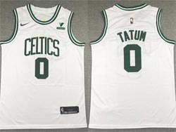 Mens 2021 Nba Boston Celtics #0 Jayson Tatum White Vistaprint Logo Swingman Nike Jersey
