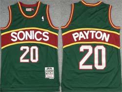 Mens Nba Seattle Supersonics #20 Gary Payton Green Red Stripe Mitchell&ness Hardwood Classics Jersey