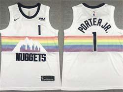 Mens Nba Denver Nuggets #1 Michael Porter Jr. White City Edition Swingman Nike Jersey