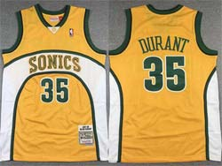 Mens Nba Seattle Supersonics #35 Kevin Durant Yellow 2007-08 Mitchell&ness Hardwood Classics Jersey