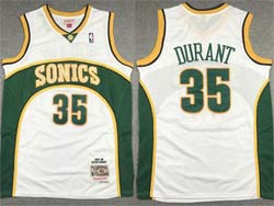 Mens Nba Seattle Supersonics #35 Kevin Durant White 2007-08 Mitchell&ness Hardwood Classics Jersey
