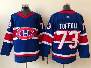 Mens Montreal Canadiens #73 Tyler Toffoli Blue 2021 Reverse Retro Alternate Adidas Jersey