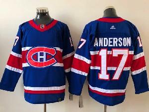 Mens Montreal Canadiens #17 Josh Anderson Blue 2021 Reverse Retro Alternate Adidas Jersey