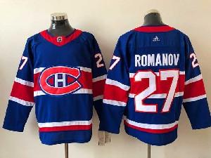 Mens Montreal Canadiens #27 Alexander Romanov Blue 2021 Reverse Retro Alternate Adidas Jersey