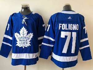Mens Nhl Toronto Maple Leafs #71 Nick Foligno Blue Home Adidas Jersey