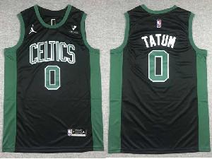 Mens 2021 Nba Boston Celtics #0 Jayson Tatum Vistaprint Logo Swingman Jorand Black Statement Edition Jersey