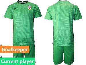 Mens Kids Soccer Croatia National Current Player 2020 European Cup Goalkeeper Short Sleeve Suit Jersey