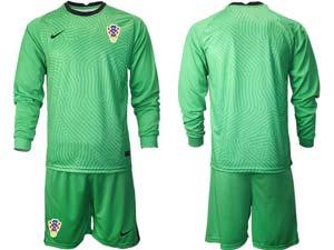 Mens Soccer Croatia National Custom Made 2020 European Cup Goalkeeper Short Sleeve Suit Jersey