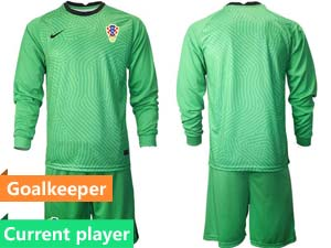 Mens Soccer Croatia National Current Player 2020 European Cup Goalkeeper Short Sleeve Suit Jersey