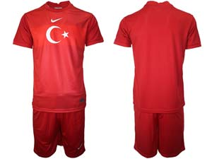 Mens Soccer Turkey National Custom Made Red 2020 European Cup Home Short Sleeve Suit Jersey