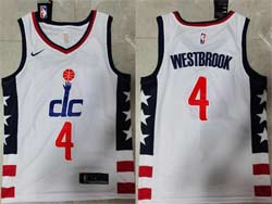 Mens 2021 Nba Washington Wizards #4 Russell Westbrook White City Edition Swingman Nike Jersey