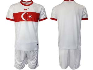 Mens Soccer Turkey National Custom Made White 2020 European Cup Away Short Sleeve Suit Jersey