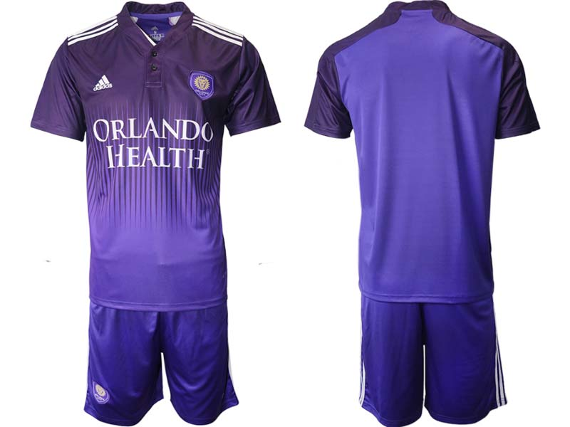Mens 21-22 Soccer Orlando City Sc Club Custom Made Purple Home Short Sleeve Suit Jersey
