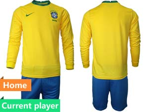 Mens 20-21 Soccer Brazil National Team Current Player Yellow Home Long Sleeve Suit Jersey