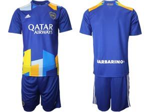 Mens 20-21 Soccer Atletico Boca Juniors Custom Made Blue Second Away Short Sleeve Suit Jersey
