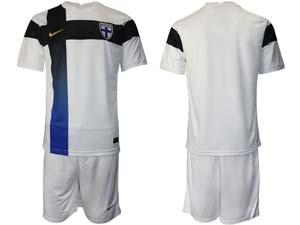 Mens 20-21 Soccer Finland National Team Custom Made White Home Short Sleeve Suit Jersey