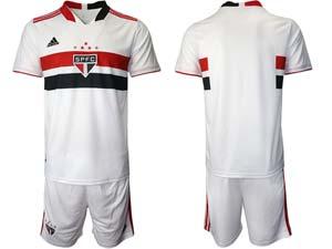 Mens 20-21 Soccer Sao Paulo Club Custom Made White Home Short Sleeve Suit Jersey