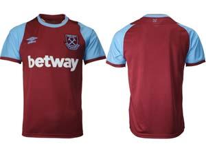 Mens 20-21 Soccer West Ham United Club Custom Made Maroon Home Thailand Short Sleeve Jersey