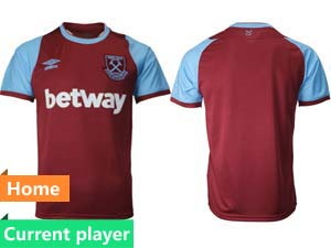 Mens 20-21 Soccer West Ham United Club Current Player Maroon Home Thailand Short Sleeve Jersey