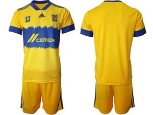 Mens 20-21 Soccer Tigres Uanl Club Custom Made Yellow Second Home Short Sleeve Suit Jersey