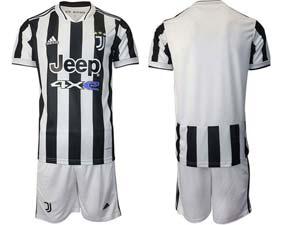 Mens Kids 21-22 Soccer Juventus Club Custom Made White Black Stripe Home Short Sleeve Suit Jersey