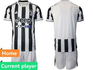 Mens Kids 21-22 Soccer Juventus Club Current Player White Black Stripe Home Short Sleeve Suit Jersey