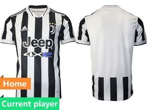 Mens 21-22 Soccer Juventus Club Current Player White Black Stripe Home Thailand Short Sleeve Jersey