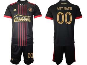 Mens 21-22 Soccer Atlanta United Club Custom Made Red And Black Stripe Home Short Sleeve Suit Jersey