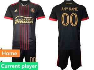 Mens 21-22 Soccer Atlanta United Club Current Player Red And Black Stripe Home Short Sleeve Suit Jersey