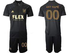 Mens 21-22 Soccer Los Angeles Fc Club Custom Made Black Home Short Sleeve Suit Jersey