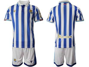 Mens 21-22 Soccer Real Madrid Club Custom Made White Blue Stripe Sociedad Final De Copa Del Rey