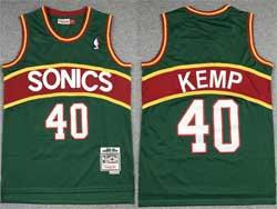 Mens Nba Seattle Supersonics #40 Shawn Kemp Green Red Stripe Mitchell&ness Hardwood Classics Jersey